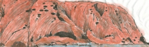 Ayers Rock (2015), 9 x 28 cm, ink & watercolour on paper