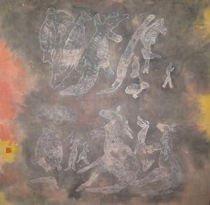 Aboriginal cave paintings (2015), 68 x 68 cm, ink and colour on paper