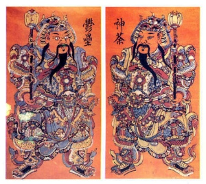 Ménshén (門神, Door Gods / Deities). They are believed to keep evil spirits from entering the doors.