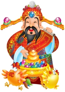 Cai Shen (財神, The God of Wealth) brings wealth and prosperity.