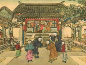 People dressed smartly visiting the homes of one another and greeting the New Year