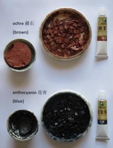 brown pigment, blue pigment