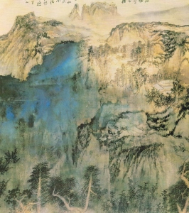 Panorama of Mount Lu (1981), ink and colour on silk, 1.79 x 9.95 m, National Palace Museum, Taipei