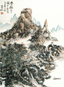 Painting of Huáng Bīnhóng (黃賓虹) (1865-1955) on unsized rice paper shows the dynamics of xiěyì (寫意)