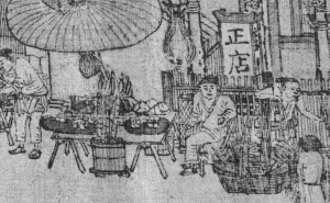 Three hawkers in front of the big restaurant or hotel