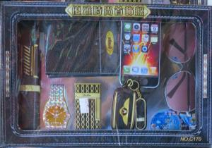Paper models of wallet, smart phone, watch, car key, pen, sun-glasses