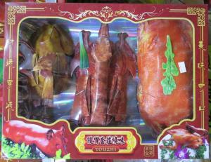 Modern joss paper (ghost food : BBQ suckling pig, roast duck, chicken)