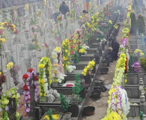Graves are laid with flowers to show respect of the deceased relatives