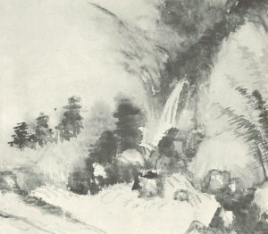 detail of the painting showing water accumulation on certain areas