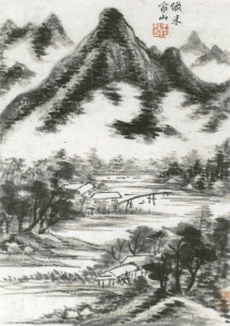 A landscape painting by Wang Shi-min (王時敏) after Mi style (米家法)