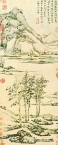 Ni Tsan (倪瓚) Trees in a River Valley at Yu-shan (虞山林壑). Dated 1371