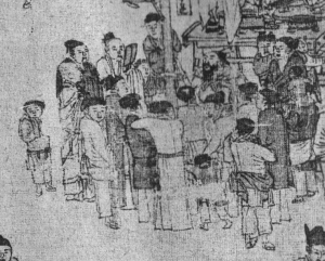 A story teller with audience - 'shuōshū rén' (說書人)