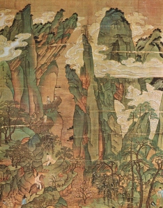 The Emperor Ming-huang's Journey to Shu.明皇幸蜀圖. Attributed to Lǐ Zhāo-dào (李昭道) (675 CE - 758 CE)