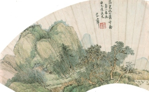 Painting of Wang Hui (王翬) (1632 - 1717)on sized rice paper shows detailed and delicate work