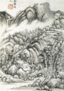 a landscape painting by Wang Shi-min (王時敏)