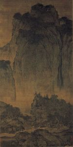 Travellers among Mountains and Streams (谿山行旅), ink and slight color on silk, National Palace Museum