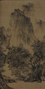 A Solitary Temple Amid Clearing Peaks 晴峦萧寺. Ink and light color on silk. 111.76 x 55.88 cm. Nelson-Atkins Museum of Art