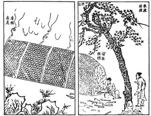 Image from the 15th-century technical document Tiangong Kaiwu (天工開物) detailing how pinewood is burned in a furnace at one end and its soot collected at the other