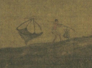 A fisherman holding a fish net