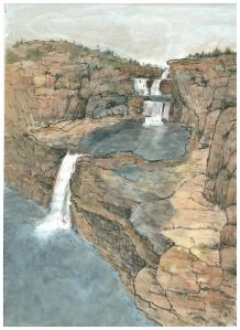 Mitchell Falls, Western Australia, (2015) 30 x 21 cm,  Ink and water colour on paper,
