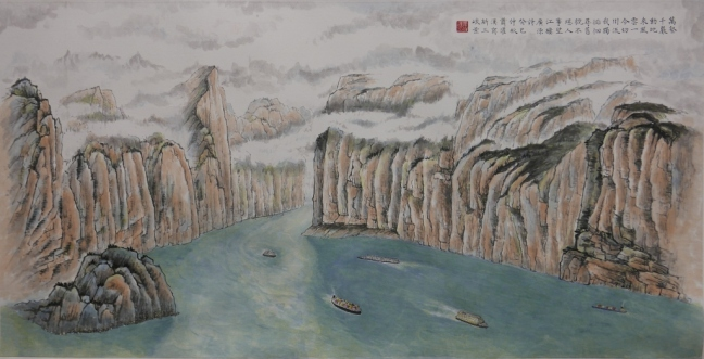 Qutang Gorge after the building of the Dam (2013), 68 x 136 cm , ink and water colour on paper 萬壑千巖動地來,風雲一令切川流。我獨徘徊尋舊貎,不堪人事望江樓。