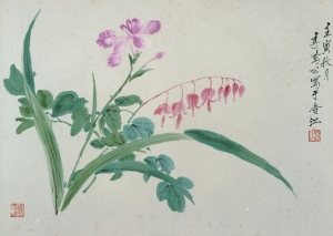 Li Fenggong, 1962, Flowers, 24 x 36 cm, ink and watercolour on paper. Inscriptions: 壬寅秋月 李鳳公寫于香江, Seal: 鳳公(朱紋), private collection