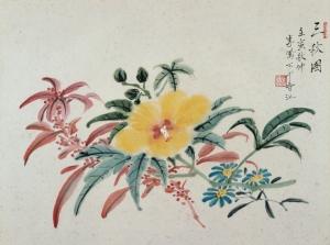Li Fenggong, 1962, Three Autumn Flowers (三秋圖), 24 x 36 cm, ink and watercolour on paper. Inscriptions: 三秋圖 壬寅秋仲 李鳳公于香江, Seal: 鳳公(朱紋), private collection