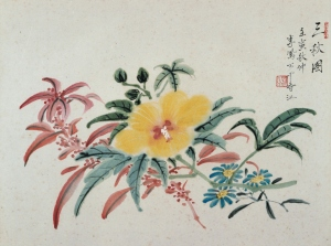 Li Fenggong, 1962, Three Autumn Flowers (三秋圖), 24 x 36 cm, ink and watercolour on paper. Inscriptions: 三秋圖 壬寅秋仲 李鳳公于香江, Seal: 鳳公(朱紋), private collection