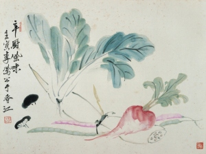 Li Fenggong, 1962, Vegetables, 24 x 36 cm, ink and watercolour on paper. Inscriptions: 辛廚風味 壬寅 李鳳公于香江, Seal: 鳳公(朱紋), private collection