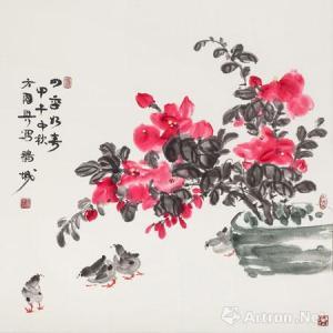 Fāng Guóxìng (方國興): Spring weather all years round (四季如春), 2014 (甲午), 69 x 69 cm