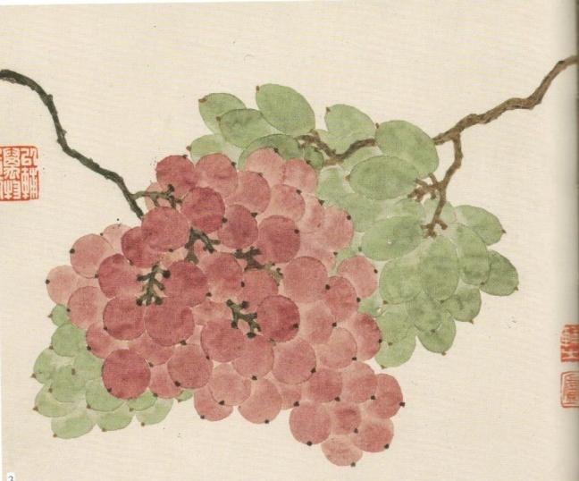 Dīng Pù zhī 丁鋪之, Grapes, ink and watercolour on paper