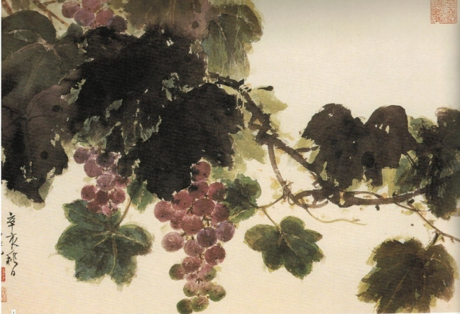 Xie Zhiliu 謝稚柳 (1910 – 1997) Grapes with leaves, , ink and watercolour on paper