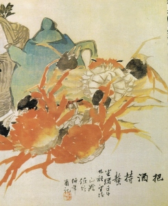Ren Bonian (任百年) (1840 – 1896), 把酒持螯 bǎ jiǔ chí áo (Eating Crab and Drinking Wine), ink and watercolour on paper