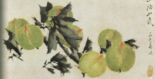 Xū Gǔ 虛谷 (1824 – 1896), Green Peaches, ink and watercolour on paper