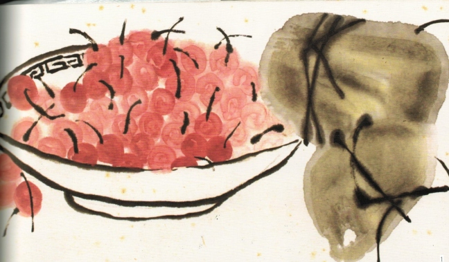 Qi Baishi 齊白石 (1864 – 1957), Cherries, ink and watercolour on paper