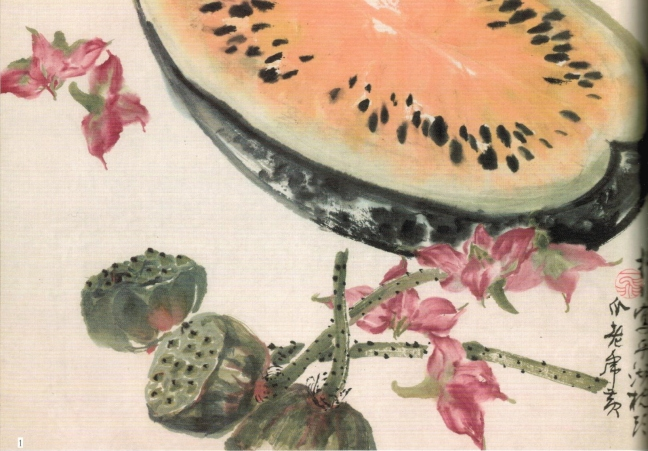 Lù Yì fēi 陸抑非 (1908 – 1997), Rock melon, Lotus fruits and Water caltrop (菱角), ink and watercolour on paper