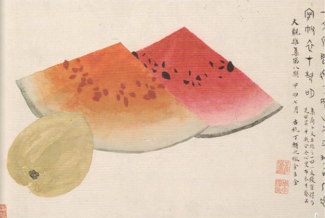 Dīng Pù zhī 丁鋪之, Watermelon and Mango, ink and watercolour on paper