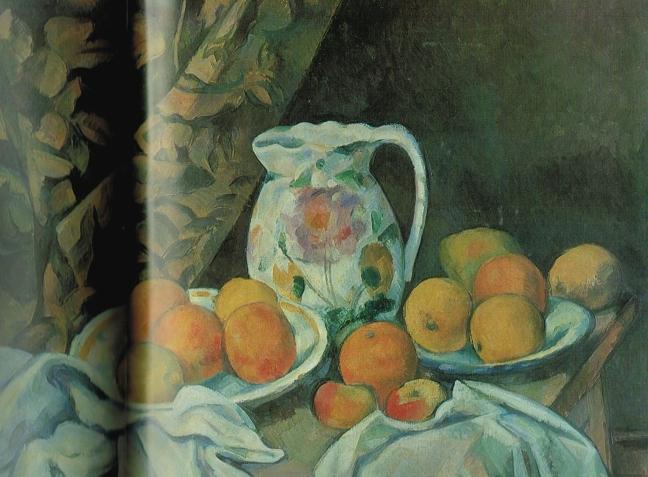 Paul Cézanne (1839 – 1906), Still life with Curtain, ca 1899, oil on canvas, 54.7 x 74 cm, The Hermitage