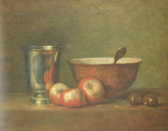 Jean-Baptiste-Siméon Chardin (1699 – 1779) The Silver Goblet, 1769? , oil on canvas, 33 x 41 cm, The Louvre