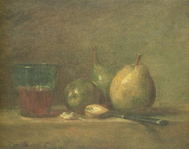 Jean-Baptiste-Siméon Chardin (1699 – 1779), 1869, Pears, Walnuts and a Glass of Wine, 1769 ?, oil on canvas, 33 x 41 cm, The Louvre