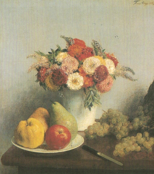 Henri Fantin-Latour, Flowers and Fruits, 1865, 64 x 57 cm, Musee D'Orsay
