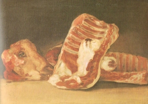 Francisco José de Goya (1746 – 1828), Still life with Sheep's Head, oil on canvas, 45 x 62 cm, the Louvre