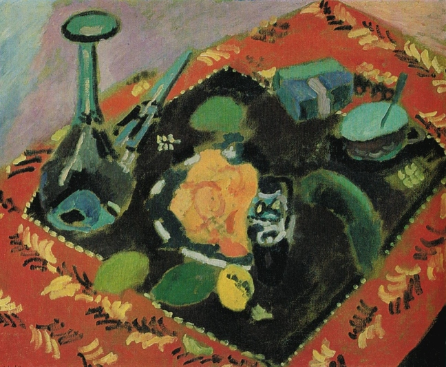 Henri-Émile-Benoît Matisse (1869 – 1954),  Dishes and fruit on a red and black carpet, 1906, oil on canvas, 61 x 74 cm, the Hermitage