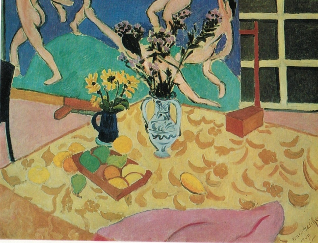 Henri-Émile-Benoît Matisse (1869 – 1954), Fruit, flowers and panel 'the Dance', 1909, oil on canvas, 89 x 116 cm, the Hermitage