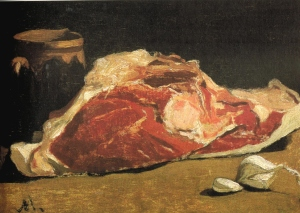 Oscar-Claude Monet (1840 – 1926), Still Life: Piece of Beef, 1864, 24 x 33 cm, Musee D'Orsay