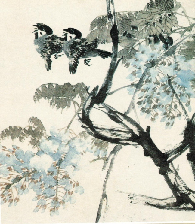 Ren Bonian 任伯年 (1840 – 1896) Wisteria flowers and birds, ink and Chinese watercolour on paper