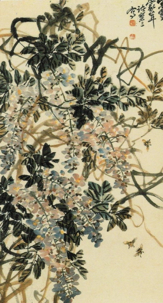 Zhū Lè sān諸樂三 (1902 – 1984) Wisteria flowers, ink and Chinese watercolour on paper