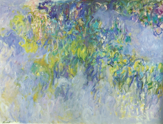 Claude Monet, c 1920 Wisteria(diptych), left panel, oil on canvas, 150 x 200 cm, Collection of Mr & Mrs J Pulitzer, Jr