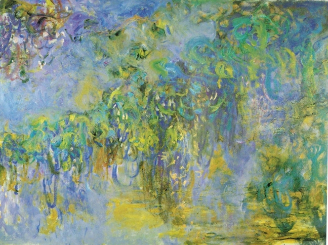 Claude Monet, c 1920 Wisteria(diptych), right panel, oil on canvas, 150 x 200 cm, Collection of Mr & Mrs J Pulitzer, Jr