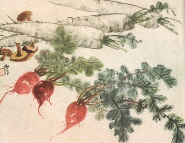 Lù Yì fēi 陸抑非 (1908 – 1997), White and Red Radishes and Mushrooms, ink and watercolour on paper
